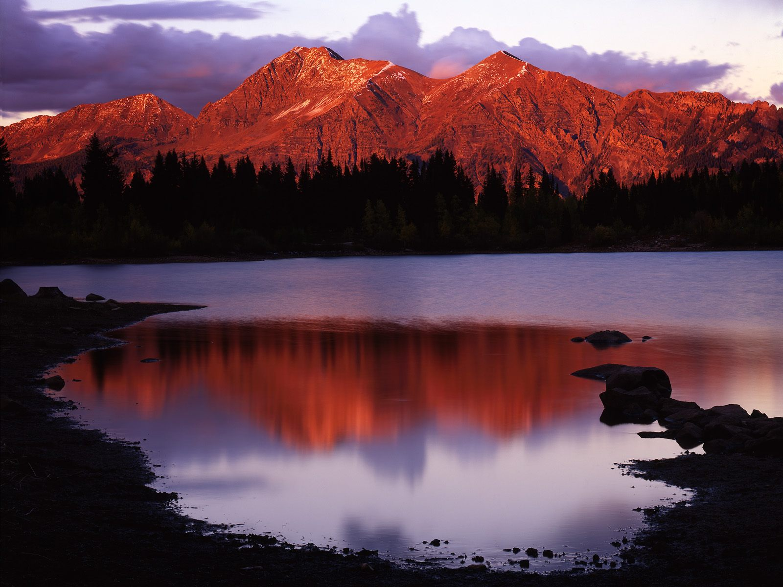 Sunset Glow on Lost Lake and the Ruby Range Gunnison National Forest Colorado 1600 x 1200