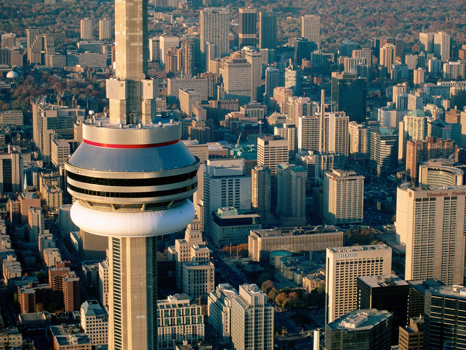 Aerial View of the CN Tower Toronto