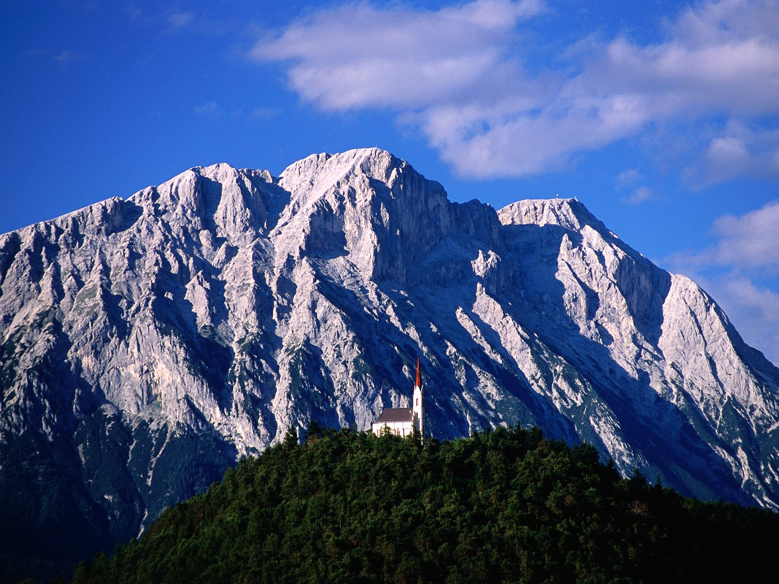 Hillside Church and Mount Griesspitzen Tirol