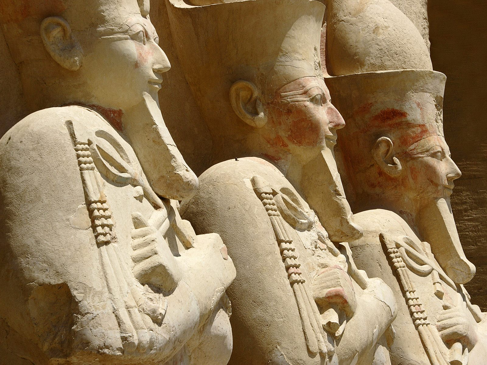 Statues at the 3rd Terrace Temple of Hatshepsut Deir el Bahri Thebes Luxor