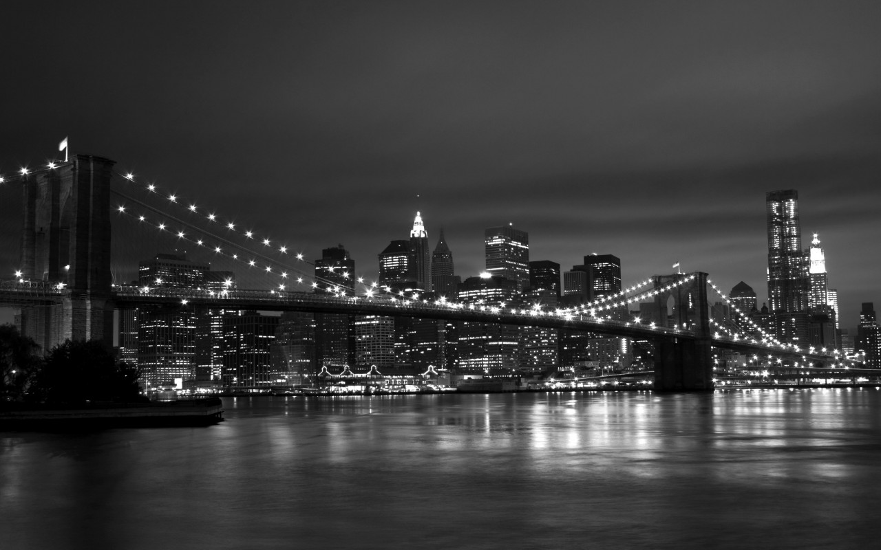 New York Black White 1280x800