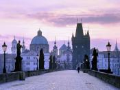 Charles Bridge at dusk Prague